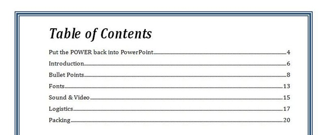 powerpoint table of contents - anuvrat.info