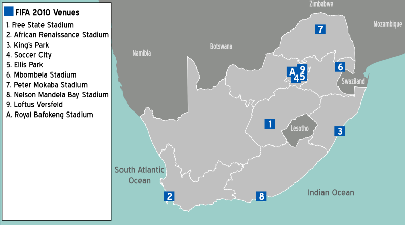 South Africa FIFA Map 2010